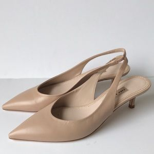 Zara Basic Collection Leather Slingback Pumps 10